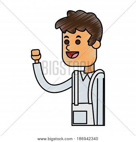 color pencil cartoon half body male food seller with uniform vector illustration