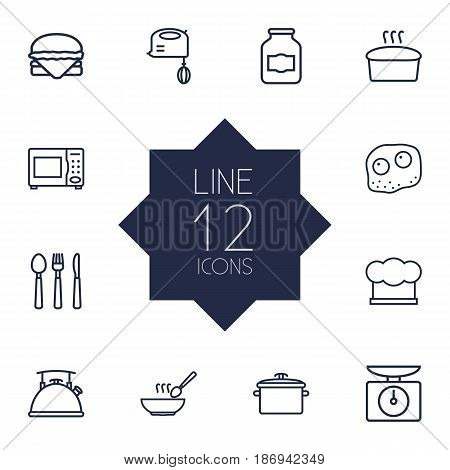 Set Of 12 Kitchen Outline Icons Set.Collection Of Kettle, Soup, Microwave And Other Elements.