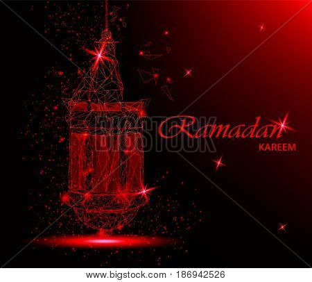 Ramadan Kareem beautiful greeting card with traditional Arabic lantern. Polygonal art on red background. Usable for Eid Mubarak. Stock vector