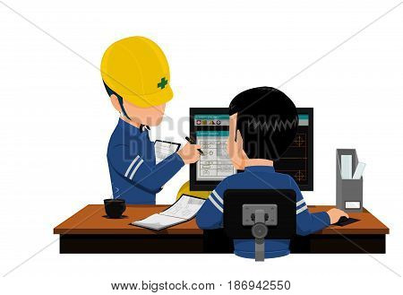 Two engineers are discussing about his work