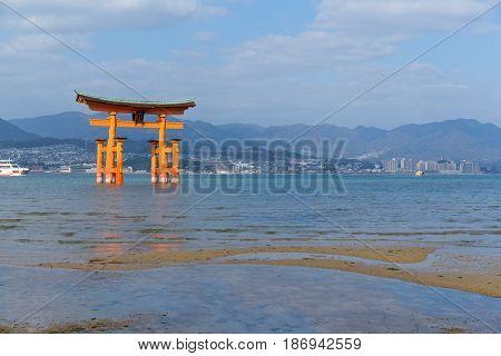 Floating gate of Itsukushima Shrine in Japan
