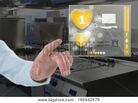 Digital composite of Hand touching a Cooking App Interface