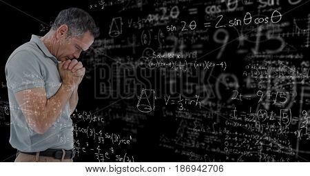 Digital composite of Digitally generated image of thoughtful man with various mathematical equations