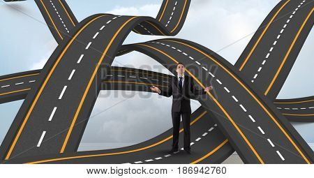 Digital composite of Digitally generated image of businessman standing on wavy road in sky
