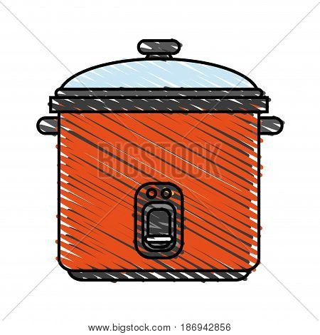 color crayon stripe cartoon rice electric cooker vector illustration