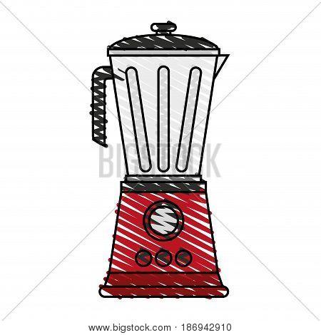 color crayon stripe cartoon electronic device red blender vector illustration