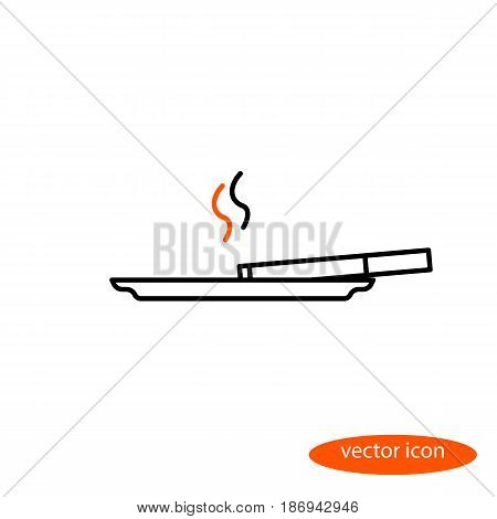 Simple vector image of a thin line of cigarettes with orange smoke lying on a saucer a flat linear icon.