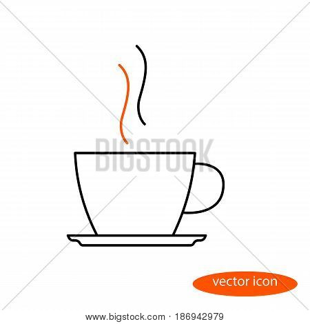 Simple vector image of a thin line of a cup and a saucer with a hot beverage with steam a flat linear icon.
