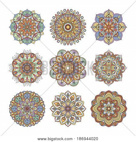 Chinese and indian floral pattern. Color indian mandalas set. Yoga illustrations isolate on white background. Flower mandala collection, ornament floral vintage mandala
