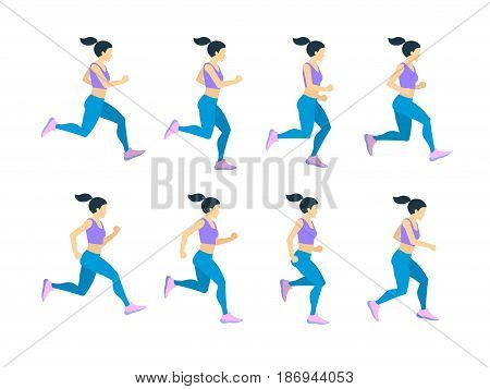 Running girl young female athlete in tracksuit. Vector set of animation frames. Character athlete woman run, illustration of runner cartoon woman