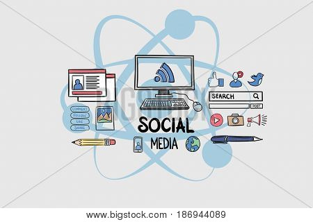 Digital composite of Digital composite image of social media text with technology graphics