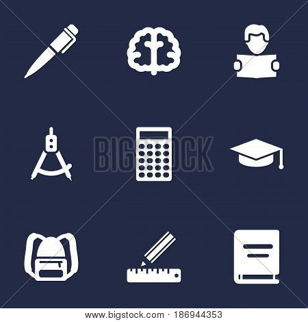 Set Of 9 Education Icons Set.Collection Of Academic Hat, Calculate, Marrow And Other Elements.