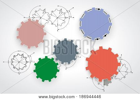 Gears In Engagement. Engineering Drawing Abstract Industrial Background With A Cogwheels.