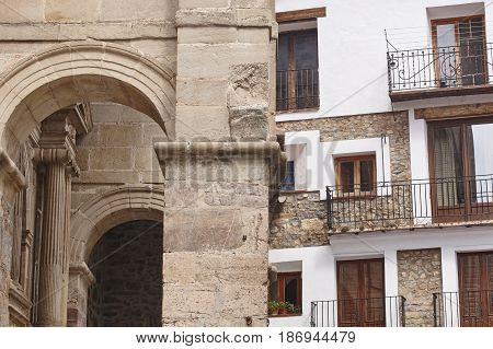 Picturesque village in Spain. Alcala de la Selva. Teruel heritage. Architecture