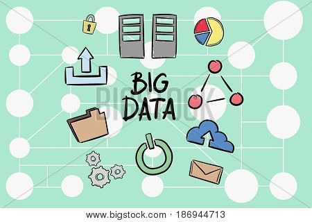 Digital composite of Digital composite image of big data amidst various icons