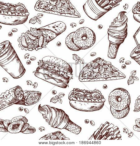 Fast food vector seamless pattern. Hand drawn illustration of hamburger sandwich cola and french fries. Pattern hamburger pizza fast food, beverage and potato fastfood