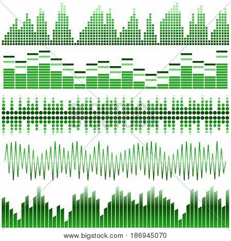 Vector set of green sound waves. Audio equalizer. Sound & audio waves isolated on white background.