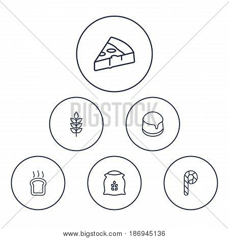 Set Of 6 Oven Outline Icons Set.Collection Of Flour, Pizza, Candy Cane Elements.