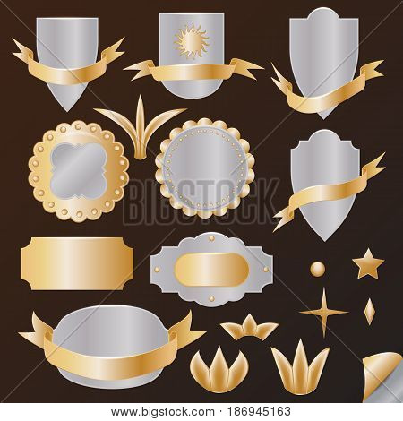 vector set of gold items: shield coat of arms ribbons rosettes crown star stud Lily curled corner of the page. For your design