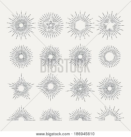 Sunburst retro icon set. Line drawing of sunshine. Abstract vector illustration. Radial abstract sunburst, drawing linear starburst template