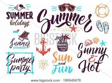 Summer typography lettering decoration for vintage posters or postcards. Vector background pictures set. Calligraphy text summer, illustration of typography writing summer holiday