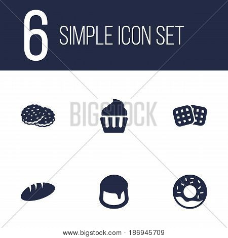 Set Of 6 Cook Icons Set.Collection Of Shortcake, Doughnut, Custard And Other Elements.
