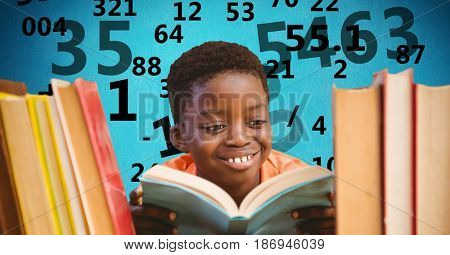 Digital composite of Digital composite image of boy studying with number flying in background