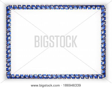 Frame and border of ribbon with the state Minnesota flag USA edging from the golden rope. 3d illustration
