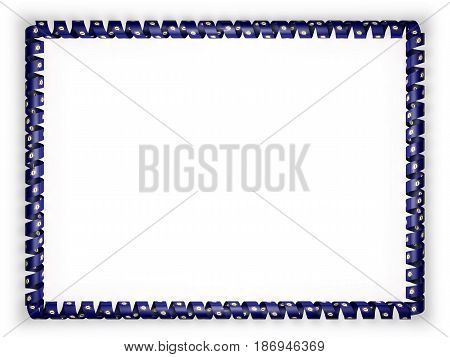 Frame and border of ribbon with the state Kentucky flag USA. 3d illustration