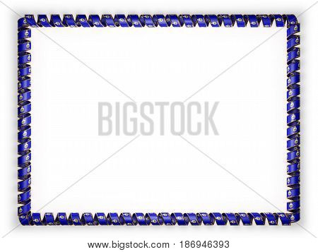 Frame and border of ribbon with the state Kansas flag USA edging from the golden rope. 3d illustration
