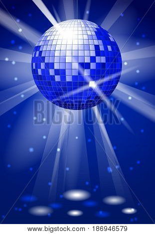 Dance club party vector background with disco ball. Dance ball bright reflection, illustration of music ball disco
