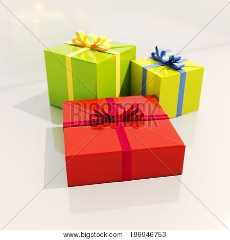 3d render: Three Gift Boxes with Ribbons on White Background, , Shallow Depth of Field, Selective Focus
