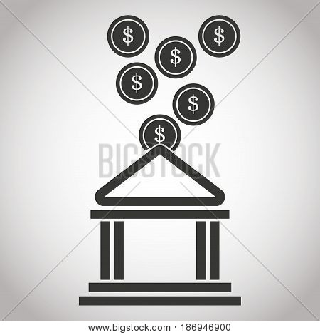 building bank coin money. banking pictogram image vector illustration