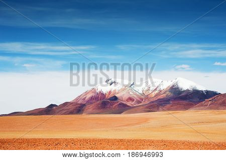Desert And Mountains On The Plateau Altiplano, Bolivia