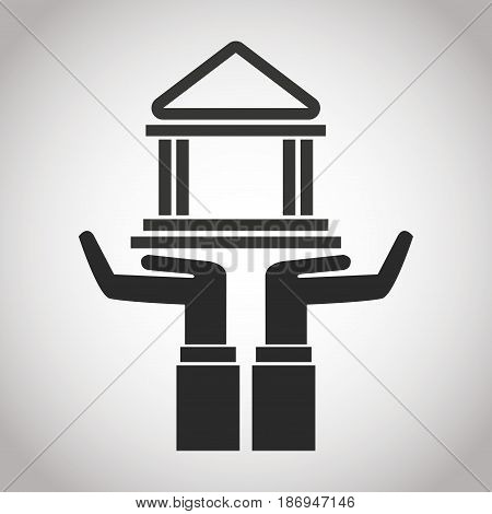 hand holding bank building. banking pictogram image vector illustration