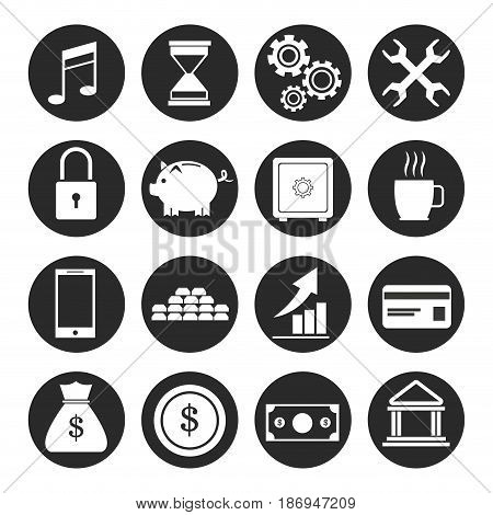 set banking money finance investment growth pictogram vector illustration