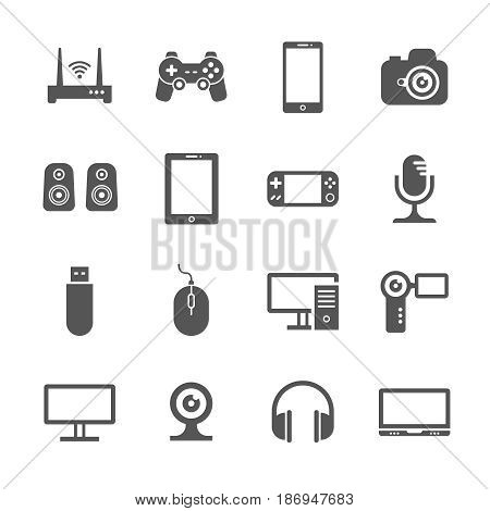 Computer gadgets and handheld digital device vector icons. Electronic device video and audio, illustration of gadget device