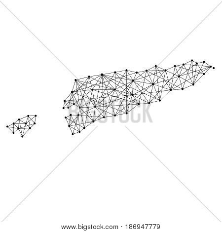 Map of East Timor from polygonal black lines and dots of vector illustration