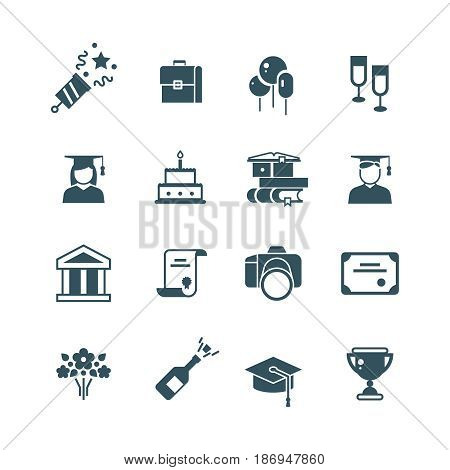 Student achievement and high school graduation vector icons. Graduate bachelor and master, illustration of graduation students