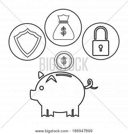piggy dollar coin security bag money outline vector illustration