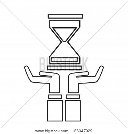 hand with sand clock time business outline vector illustration