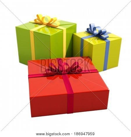 3d render: Three Gift Boxes with Ribbons Isolated on White Background, Shallow Depth of Field, Selective Focus