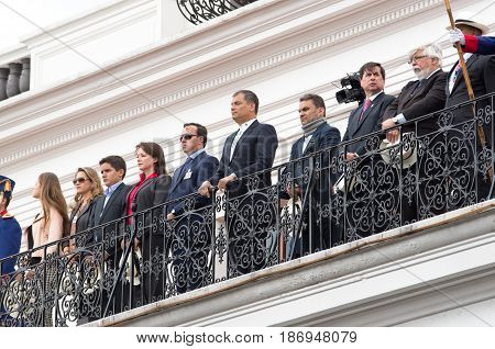 Quito, Ecuador - October 27, 2015: Ecuadorian president on the balcony of the Presidential palace during the weekly changing of the guards.