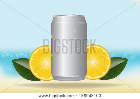 vector aluminum cans in drops of water on the beach background. round orange slices and leaves. chilled drink. mockup