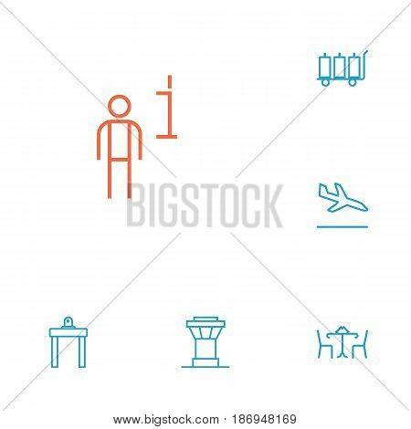 Set Of 6 Aircraft Outline Icons Set.Collection Of Sit, Control Tower, Luggage Trolley And Other Elements.