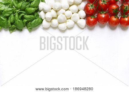 Ingredients Of Mediterranean Cuisine In The Form Of The Italian Flag.top View With Copy Space.