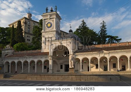 Udine: Piazza Libertà, the oldest square of the town. View of the castle, bell tower and St. John's Loggia and Temple