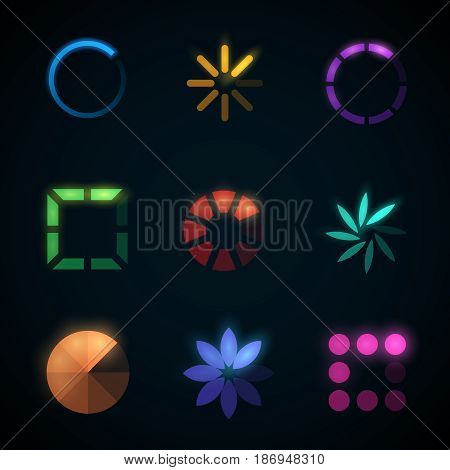 Loading progress bar and preloader vector icons. Progress colored upload interface, illustration of round downloading interface