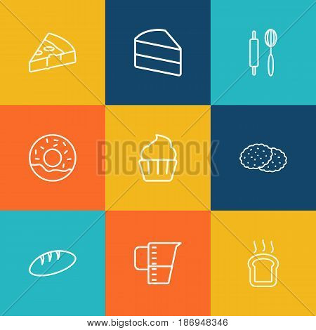 Set Of 9  Outline Icons Set.Collection Of Cake, Measuring Cup, Bread And Other Elements.