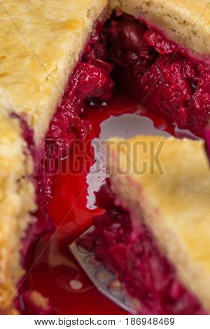 Fresh Home-made Cherry Pie. A Juicy Piece Of Cherry Pie. Slice Of Pie With Pulp Of Cherry. Macro.